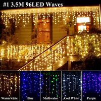 LED Curtain Light Icicle Hanging Snowing Wedding Christmas String Fairy Lighting