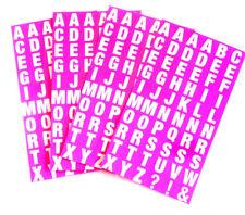 Alfabeto A-Z adesivi, bianco lettere su Neon Rosa 10mm ADESIVI QUADRATI-RCL7965