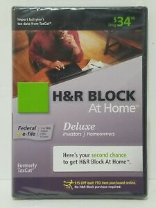 H&R Block At Home Deluxe + E-file Tax Year 2009 - Brand New, Sealed NIB