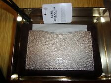 Coach F22713 Boxed Corner Zip Wristlet With Metallic Brown Black Platinum $85