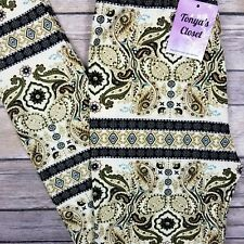 Paisley Tribal Leggings Beige Olive Black Buttery Soft ONE SIZE OS