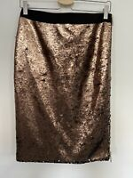 NEW! TED BAKER SKIRT, BRONZE SEQUINS, PENCIL, ZIP DETAIL, TED 2, UK 10, RRP £159