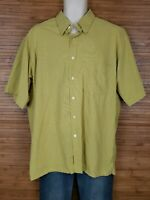Bugatchi Uomo Yellow Short Sleeve Button Front Shirt Mens Size Large L EUC