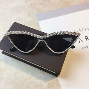 Luxury Rhinestone Cat Eye Sunglasses Women Fashion Party Shades Sun Glasses Top