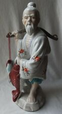 """VINTAGE LARGE CHINESE LUCKY FENG SHUI FISHERMAN WITH RED CARP STATUE FIGURE 16""""T"""