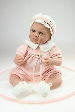 2018 Silicone Vinyl Soft Gentle Touch Cloth Body Cry bebe Reborn Girl Dolls 22""