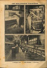 Paris Boulangerie Parisienne Pétrissage Petrin Mécanique  WWI 1914 ILLUSTRATION