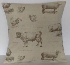 "Fryetts Farmyard Animals Sheep Chicken Cows Natural 16"" Cushion Cover"