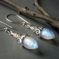 925 Silver White Fire Opal Trendy Ear Dangle Drop Earrings for Women Jewelry