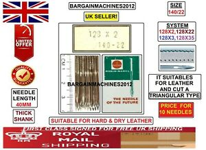 RHEIN NADEL 128X2 TRIANGULAR SIZE140/22 LEATHER INDUSTRIAL SEWING MACHINE NEEDLE