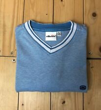 Men's Light Blue Ellesse T-Shirt Medium 38/40 Vintage V-Neck Cotton Tennis B