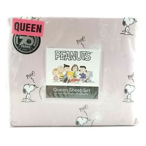 Berkshire Peanuts Snoopy Poof Make A Wish Queen Pink 4-Piece Sheet Set
