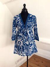 Women's Floral Print Blue Tunic Top/Mini Dress. 100% Cotton. Sz Small (12). VGC