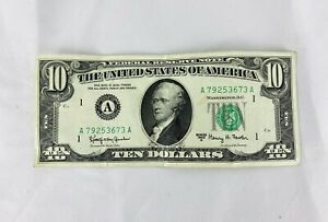 1963 SERIES A 10 DOLLAR FEDERAL RESERVE NOTE BOSTON