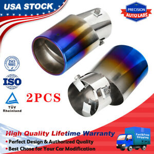 2x Car Rear Round Exhaust Tail Muffler Tip Pipe Chrome Universal Stainless Steel