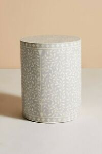 Bone Inlay Drum Scroll Vine Side Table