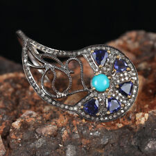 2.25Ct Turquoise Tanzanite Cocktail Ring Solid 925 Sterling Silver Diamond Pave
