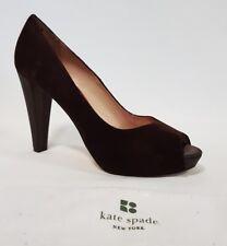 Ladies Shoes Kate Spade New York Size 9.5 US Brown Suede Peeptoe Heels EUC