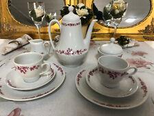 Kaffeeservice Porzellan Scherzer Bavaria 9teille lilar rote blüte Kaffee service