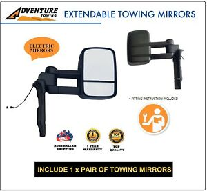 ADVENTURE TOWING MIRROR FOR TOYOTA LANDCRUISER 75 76 78 79 Series BLACK Electric