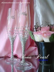 Swarovski Crystal Personalized Wedding Champagne Wine Toast Glass Flutes Mr Mrs
