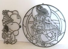 2 Vintage Suncatchers Ready To Paint Snoopy & Norman Rockwell Plastic Diy New