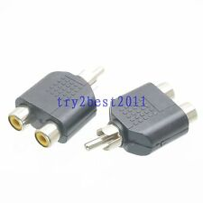 2pcs Adapter connector RCA TV plug pin to 2x RCA TV jack pin Y Splitter COAXIAL