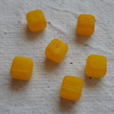 Perline Vetro Ceco ~ 30 x 6mm Perline Cubo Giallo