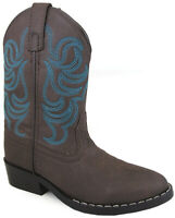 Smoky Mountain Youths Boy Monterey Western Cowboy Boots Embroidery Brown/Blue