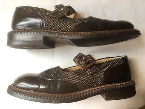 Robert Clergerie French Designer leather & tweed Mary Jane flats with shoe bags