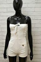 Salopetta Vestito Bianco Donna GUESS Taglia Size 25 Tubino Cotone Casual White