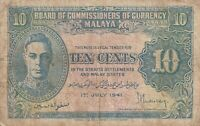 Vintage Malaya Banknote King George VI 1941 10 Cents Pick 8 TDLR US Seller