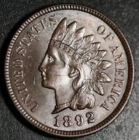 1892 INDIAN HEAD CENT - BU UNC - With CARTWHEELING BROWN MINT LUSTER!