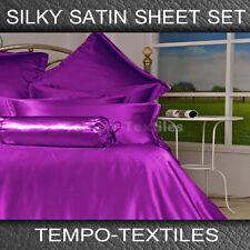 SB/DB/QB/KB/KS LUXURY Silky Satin Fitted Flat Pillowcase Sheet Linen Set PURPLE