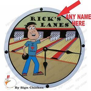 Personalized Custom Name Design, Wall Clock, BOWLER, MAN, BOWLING, BOWL, BALL