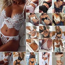 WomenUnpadded Lace Lingerie Underwear Babydoll Nightwear Bra Crop Tank Tops Set