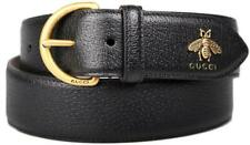 NEW GUCCI MEN'S BLACK GRAINED LEATHER METAL BEE DETAIL D RING BELT 110/44