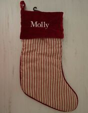 Pottery Barn Velvet Stocking Christmas Holiday Molly