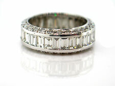 5.08 CT Natural Baguette & Round Cut Diamond Eternity Band VS1/G 14K White Gold