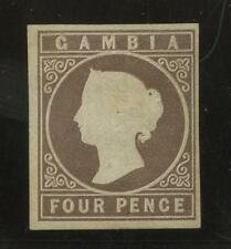 GAMBIA QV 1869 IMPERFORATE NO WATERMARK 4d UNUSED 4 MARGINS SG2...cv £500