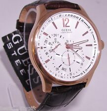 GUESS BROWN CROC LEATHER BAND+ROSE GOLD/WHITE DIAL MULTI-FUNCTION WATCH-U10598G1