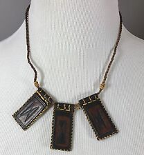 """Leather Necklace With Leather Pendants 22"""" Adjustable Unique"""