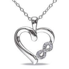 Sterling Silver Diamond Infinity Heart Pendant Necklace