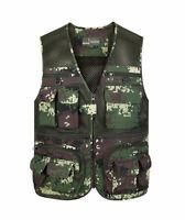 16 pockets Camo Mens Fishing Vest travel safari waistcoat hunting work jacket