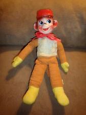 """Monkey Brown Corduroy Hard Plastic Head Hat A D Sutton & Sons 12"""" VTG 1965 Japan"""