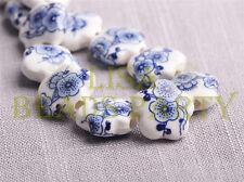New 10pcs 15mm Flower Porcelain Ceramic Loose Spacer Beads Charms Black Blue
