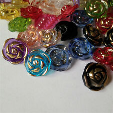 100pcs Acrylic Rose Buttons  Mixed Color Flower Design Clear Clothes Crafts DIY