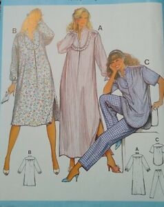 Vintage Burda Nightdress Nightie Pyjamas Sewing Pattern #7966 Multi-Size UNCUT