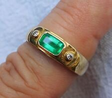 18K 750 Solid Yellow Gold Natural Colombian Emerald and Diamond Band Ring