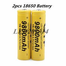 2pcs 18650 3.7V 9800mAh Rechargeable Li-ion Battery LED Flashlight Laser Pointer